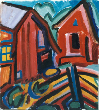 'Barns' - Painting by Stephen Soitos